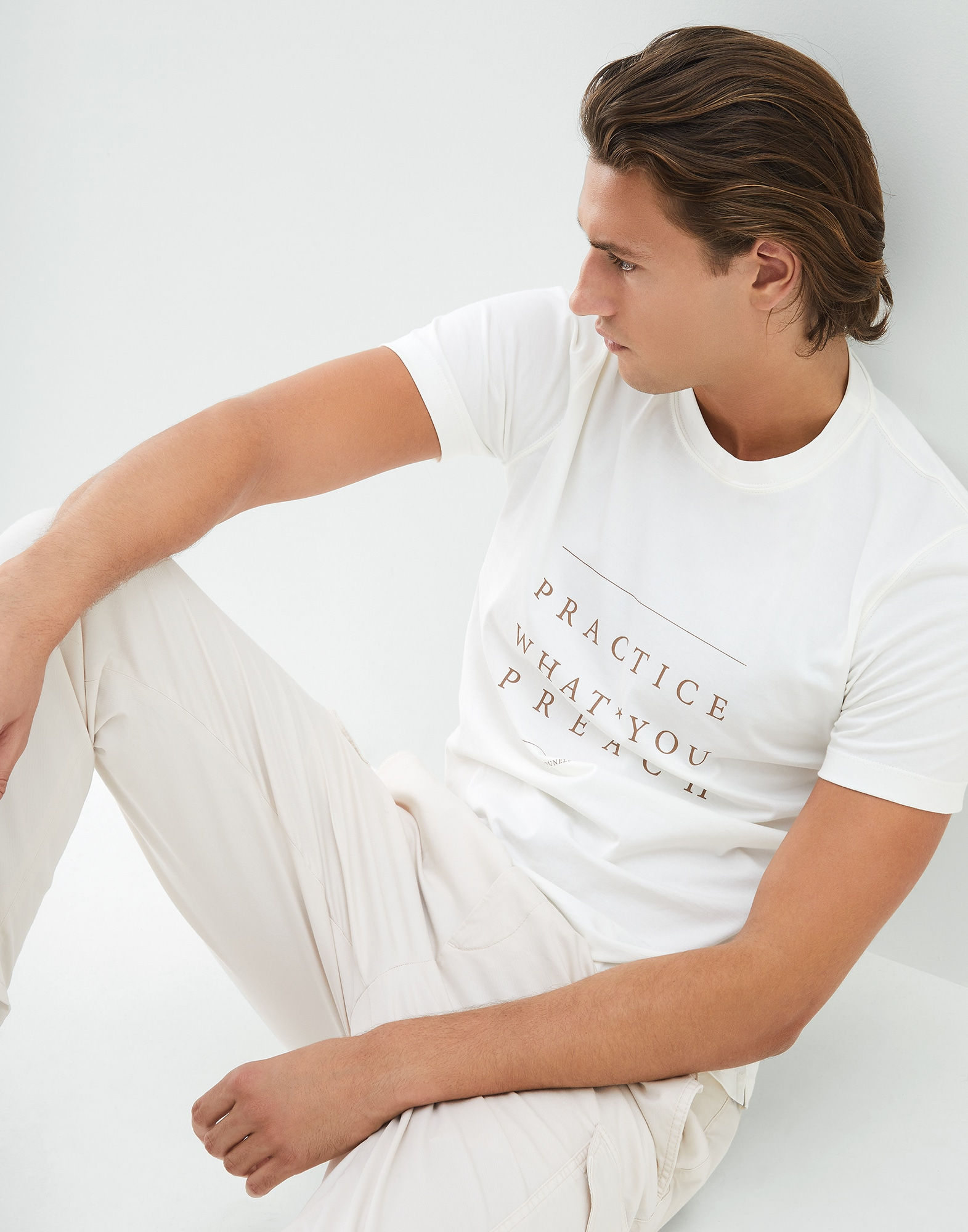Short Sleeve T-Shirt Off-White Man 4 - Brunello Cucinelli