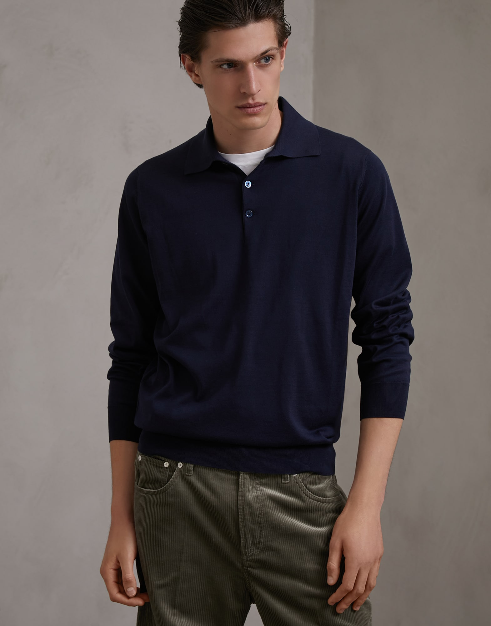 Polo-Style Sweater Navy Blue Man 1 - Brunello Cucinelli