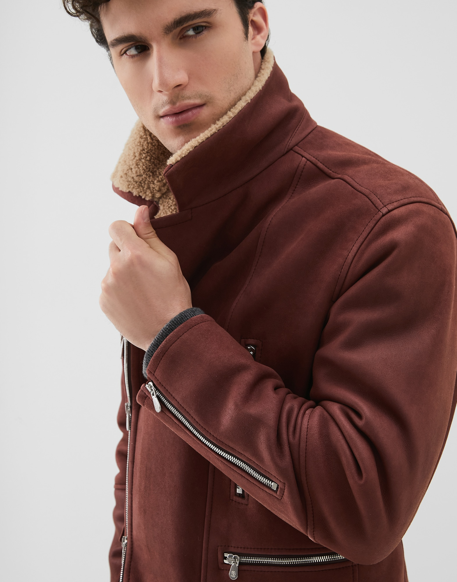 Leather Amaranth Red Man 3 - Brunello Cucinelli