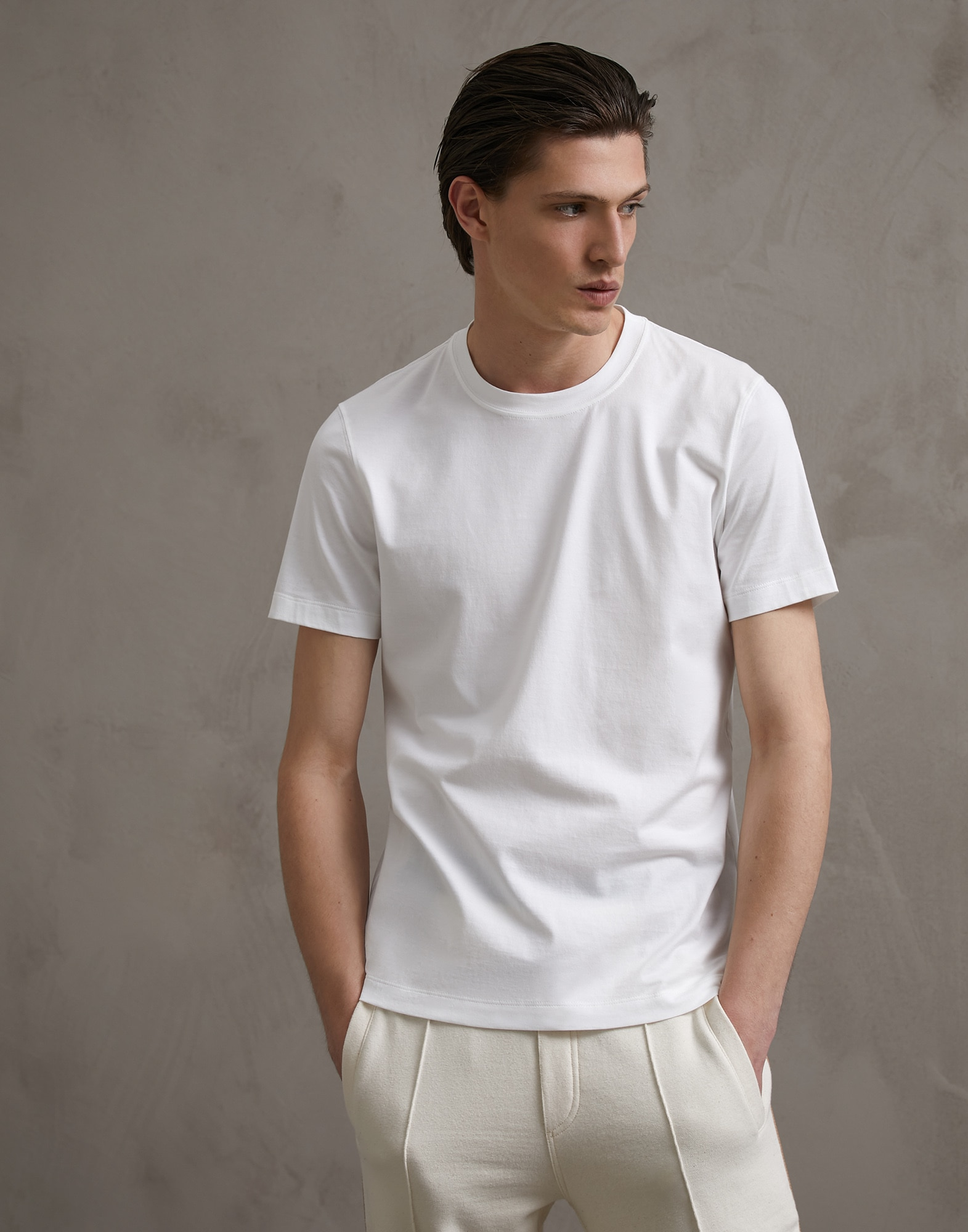 Short Sleeve T-Shirt White Man 1 - Brunello Cucinelli
