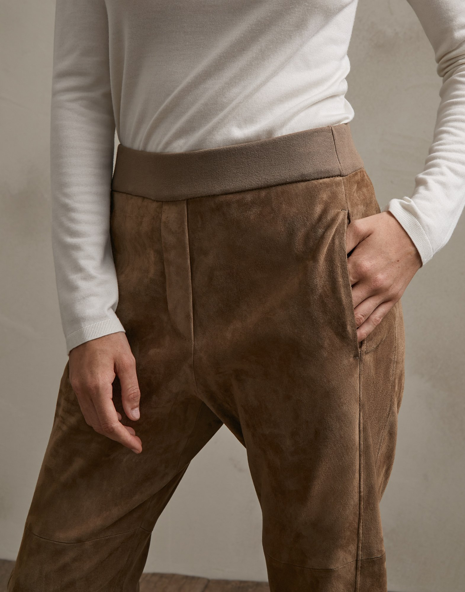Leather Trousers Brown Woman 2 - Brunello Cucinelli