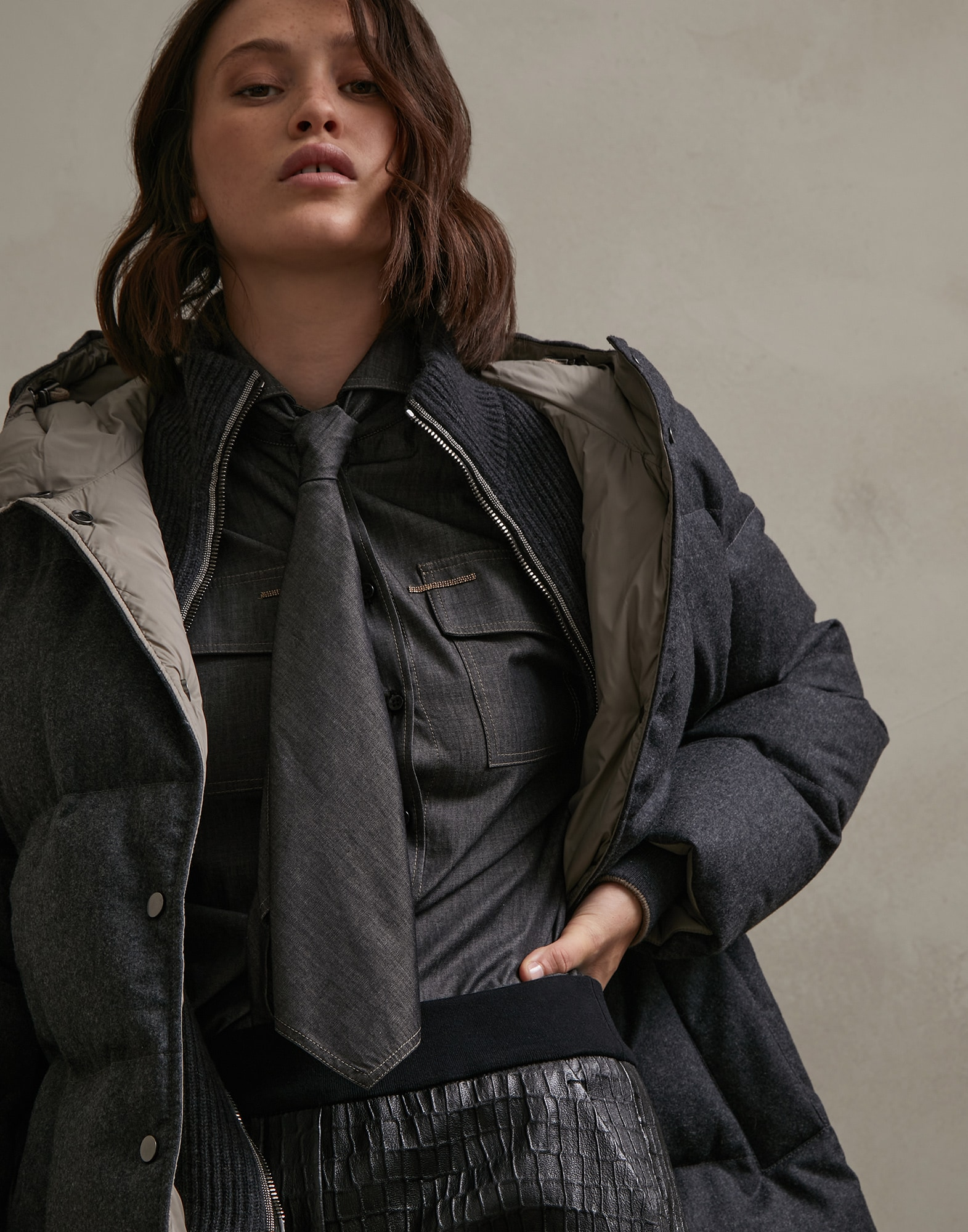 Down Jacket Dark Grey Woman 0 - Brunello Cucinelli