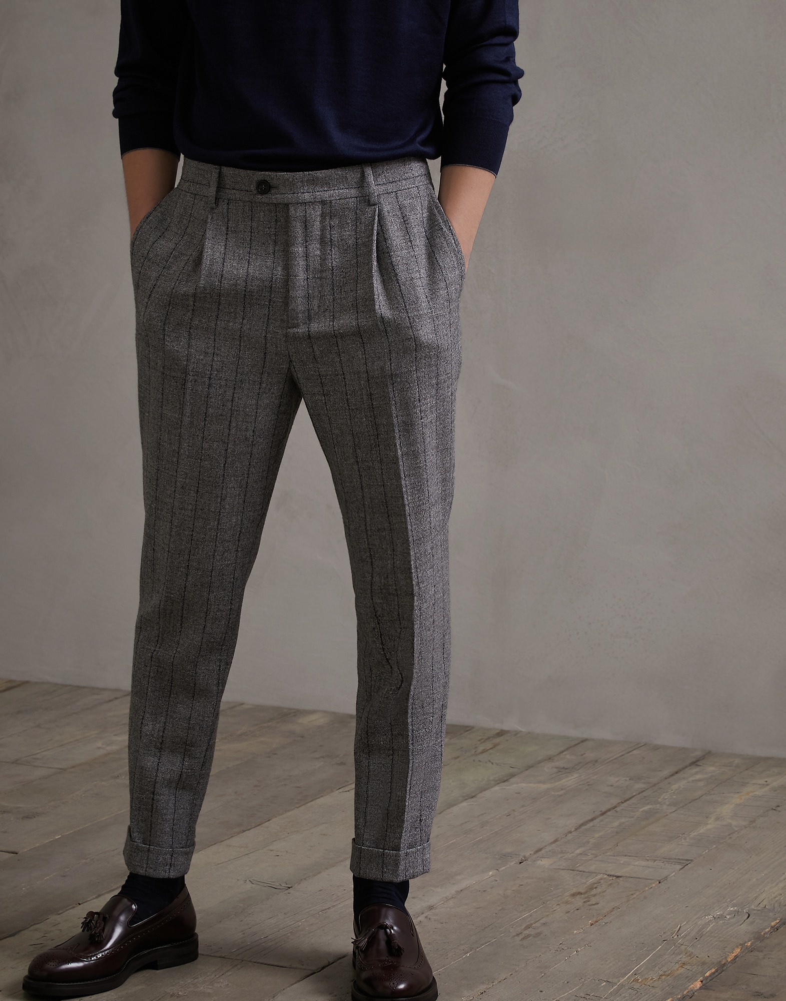 Trousers Medium Grey Man 0 - Brunello Cucinelli