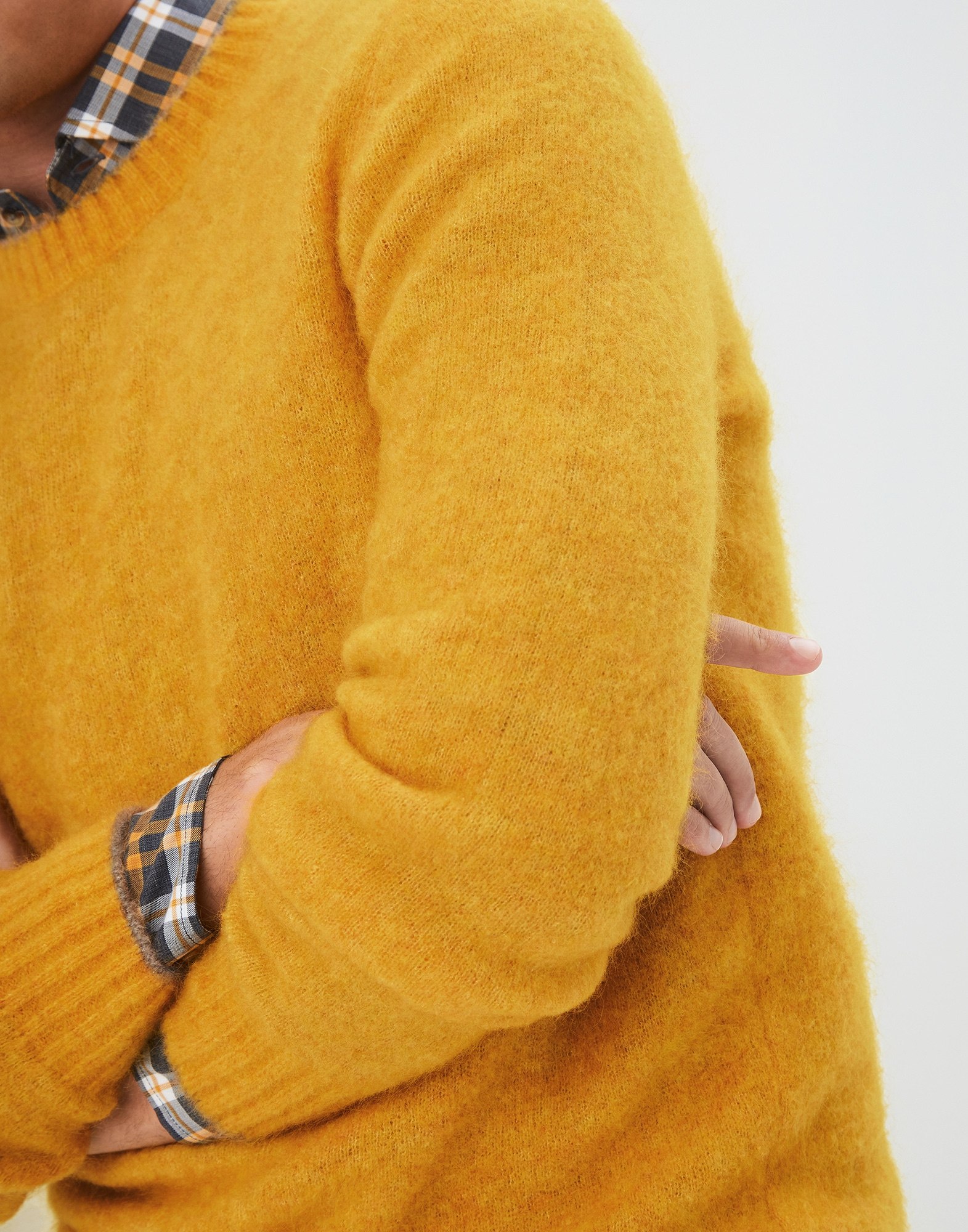 Crewneck Sweater Yellow Man 2 - Brunello Cucinelli