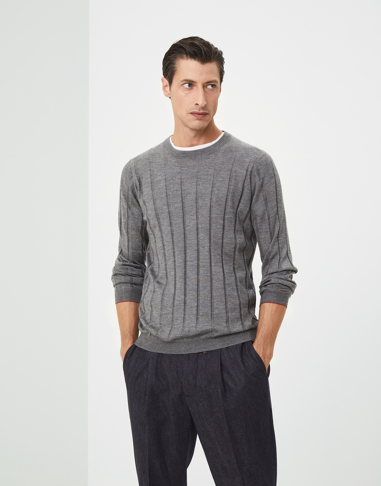 Crewneck Sweater Dark Grey Man 1 - Brunello Cucinelli