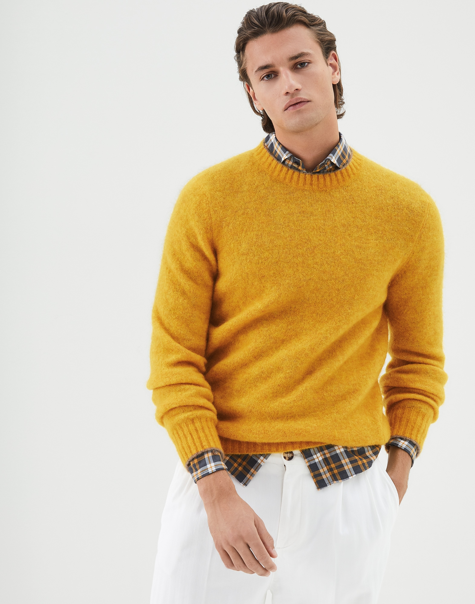 Crewneck Sweater Yellow Man 0 - Brunello Cucinelli
