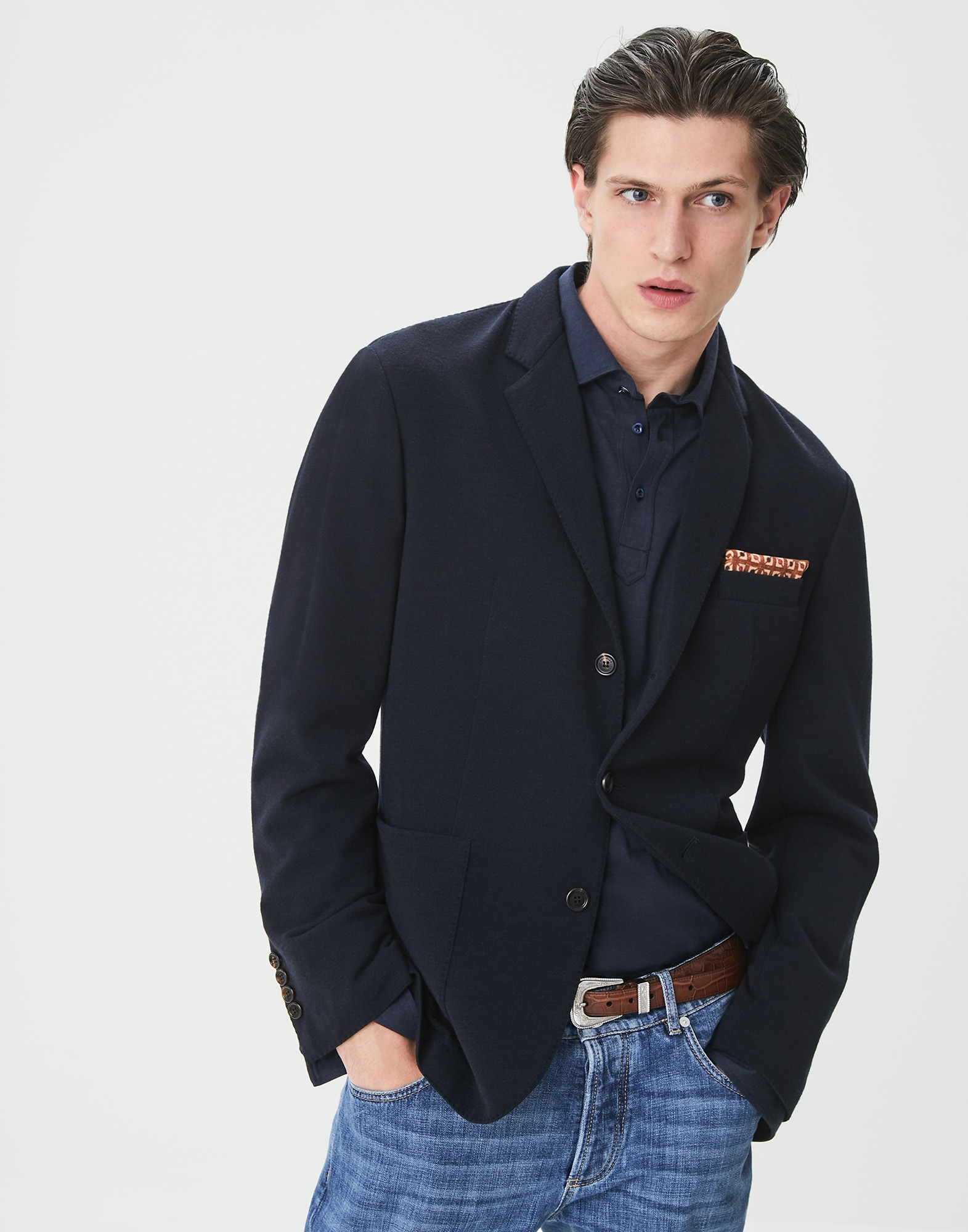 Single Breasted Blazer Navy Blue Man 1 - Brunello Cucinelli