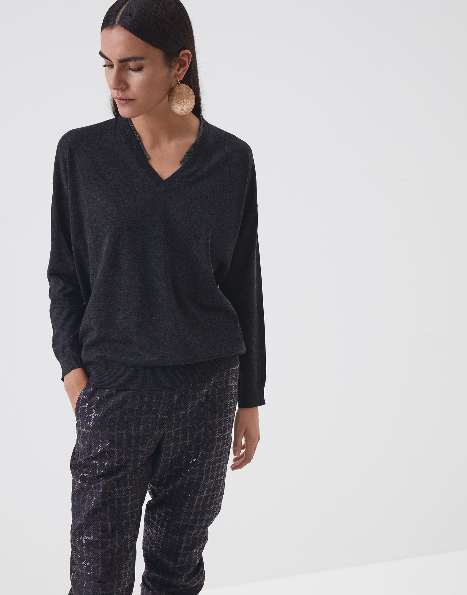 Scoop Neck Anthracite Woman 1 - Brunello Cucinelli