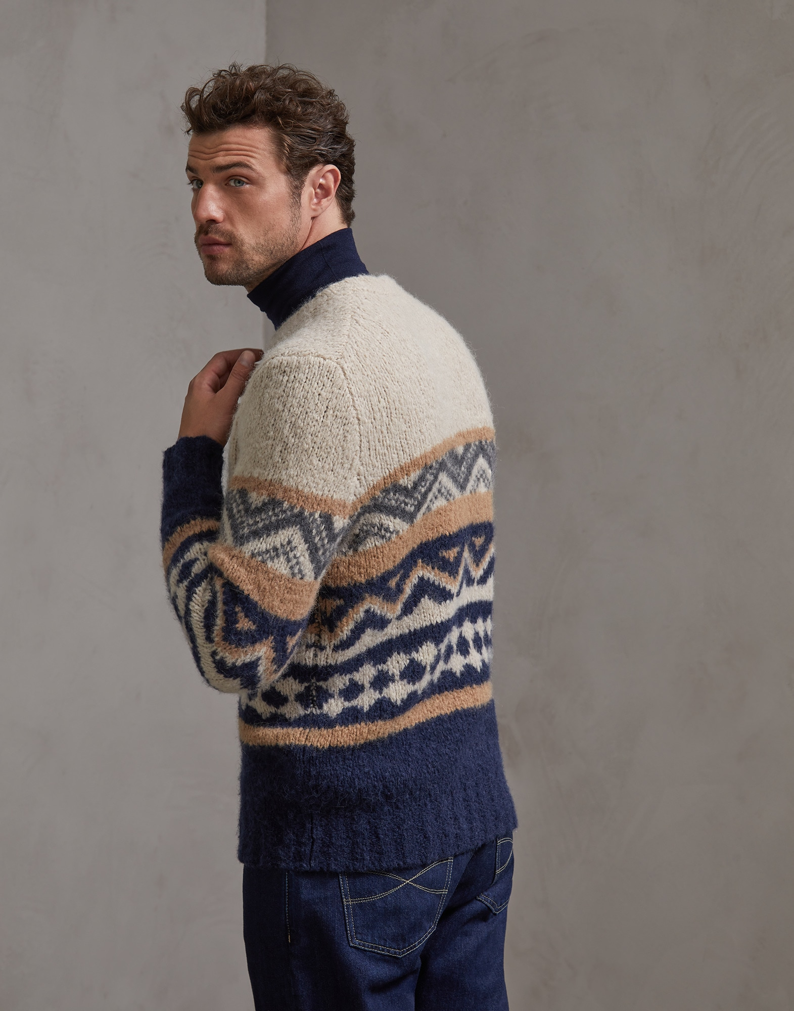 Crewneck Sweater Sand Man 2 - Brunello Cucinelli