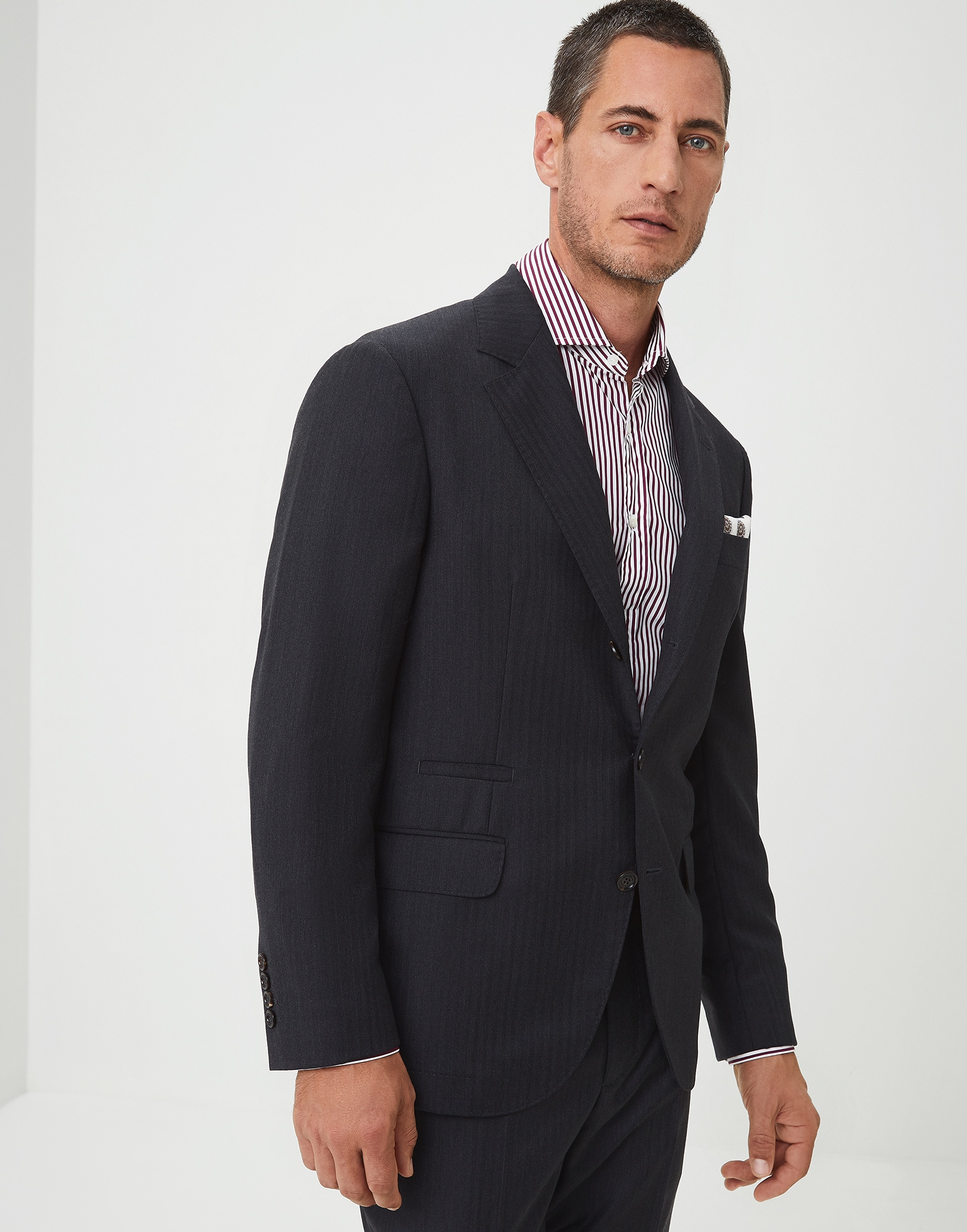Single Breasted Blazer Anthracite Man 0 - Brunello Cucinelli