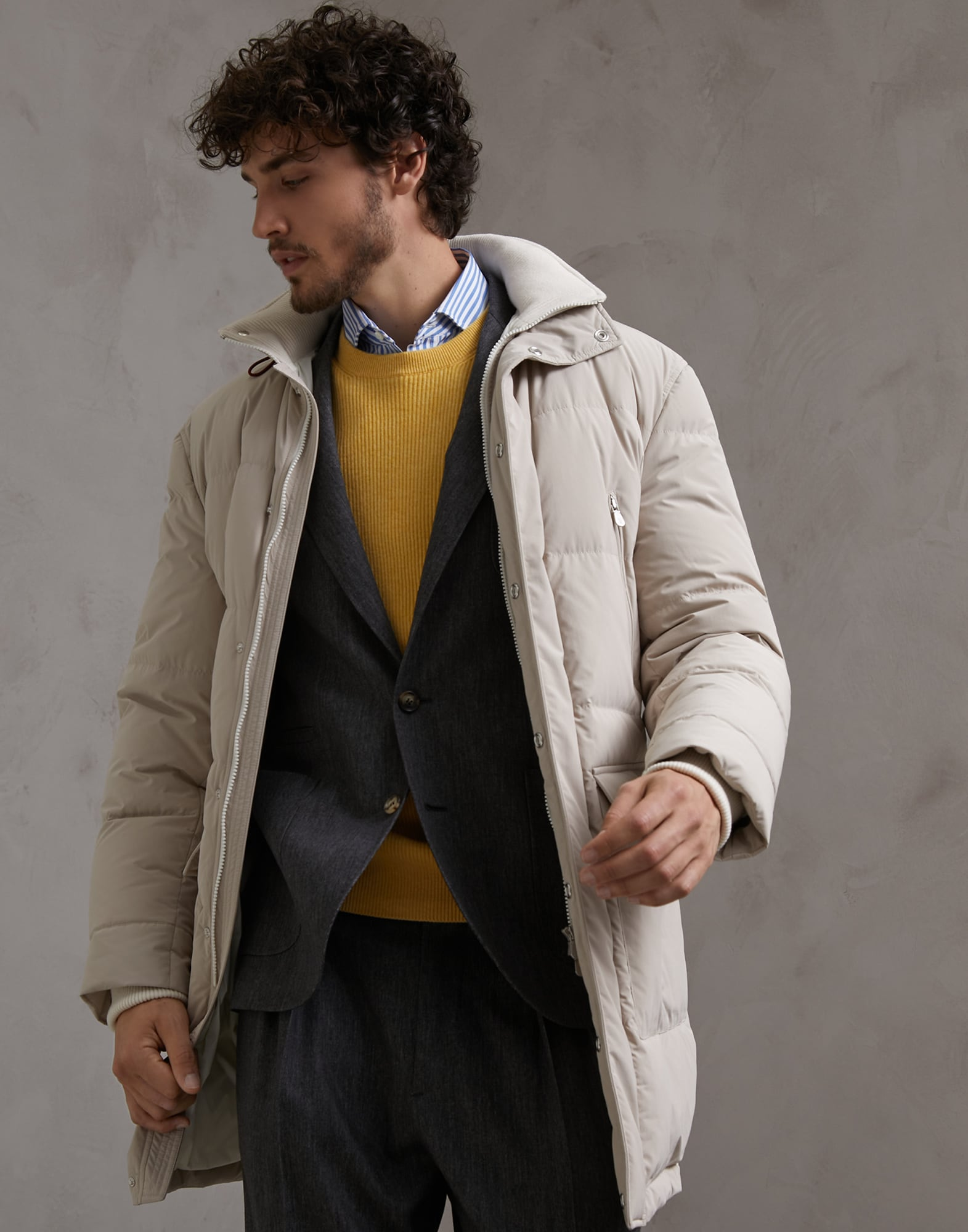 Down Jacket Beige Man 0 - Brunello Cucinelli