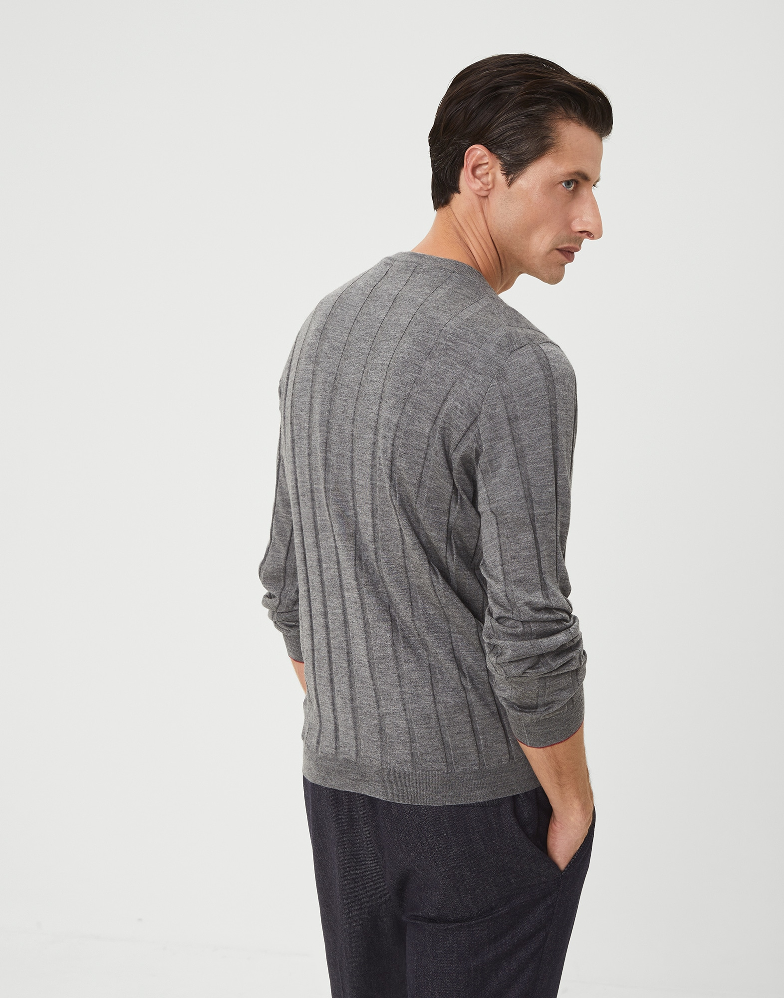 Crewneck Sweater Dark Grey Man 2 - Brunello Cucinelli