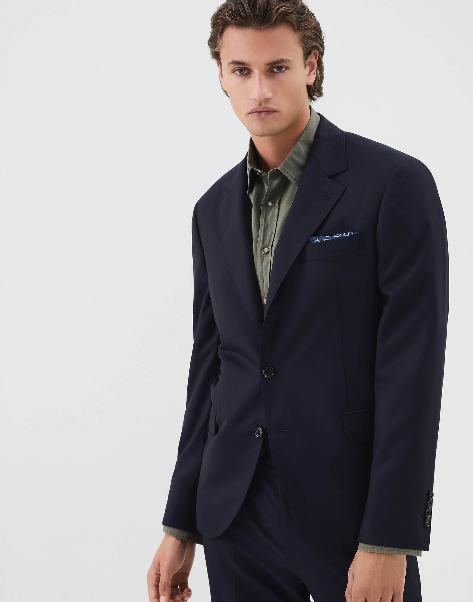 Single Breasted Blazer Navy Blue Man 0 - Brunello Cucinelli
