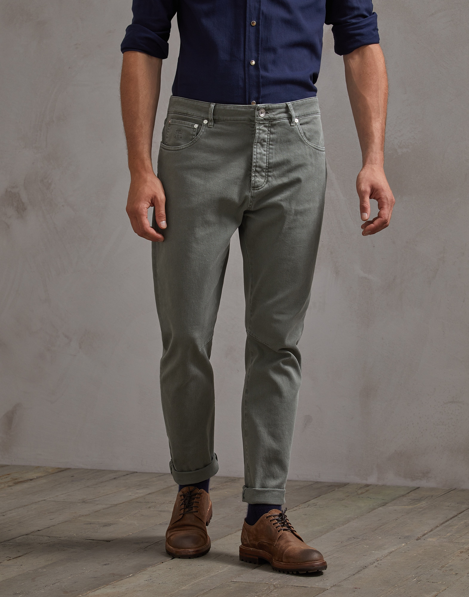 Denim Trousers Khaki Man 0 - Brunello Cucinelli