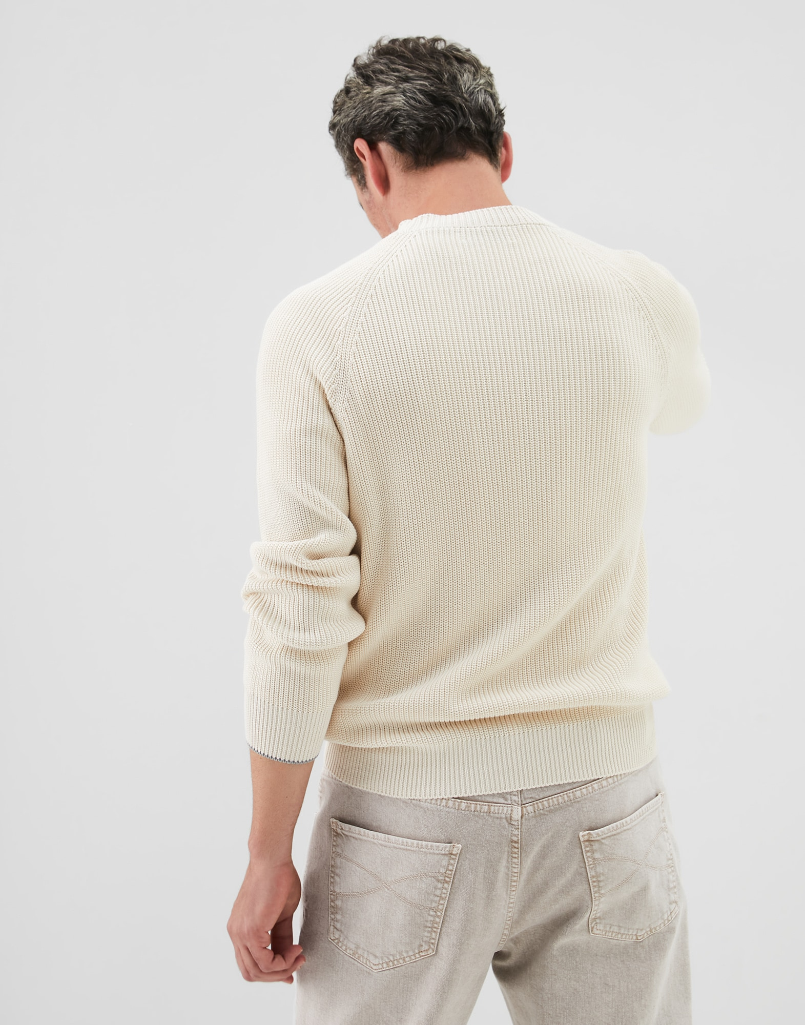 Crewneck Sweater Ivory Man 1 - Brunello Cucinelli