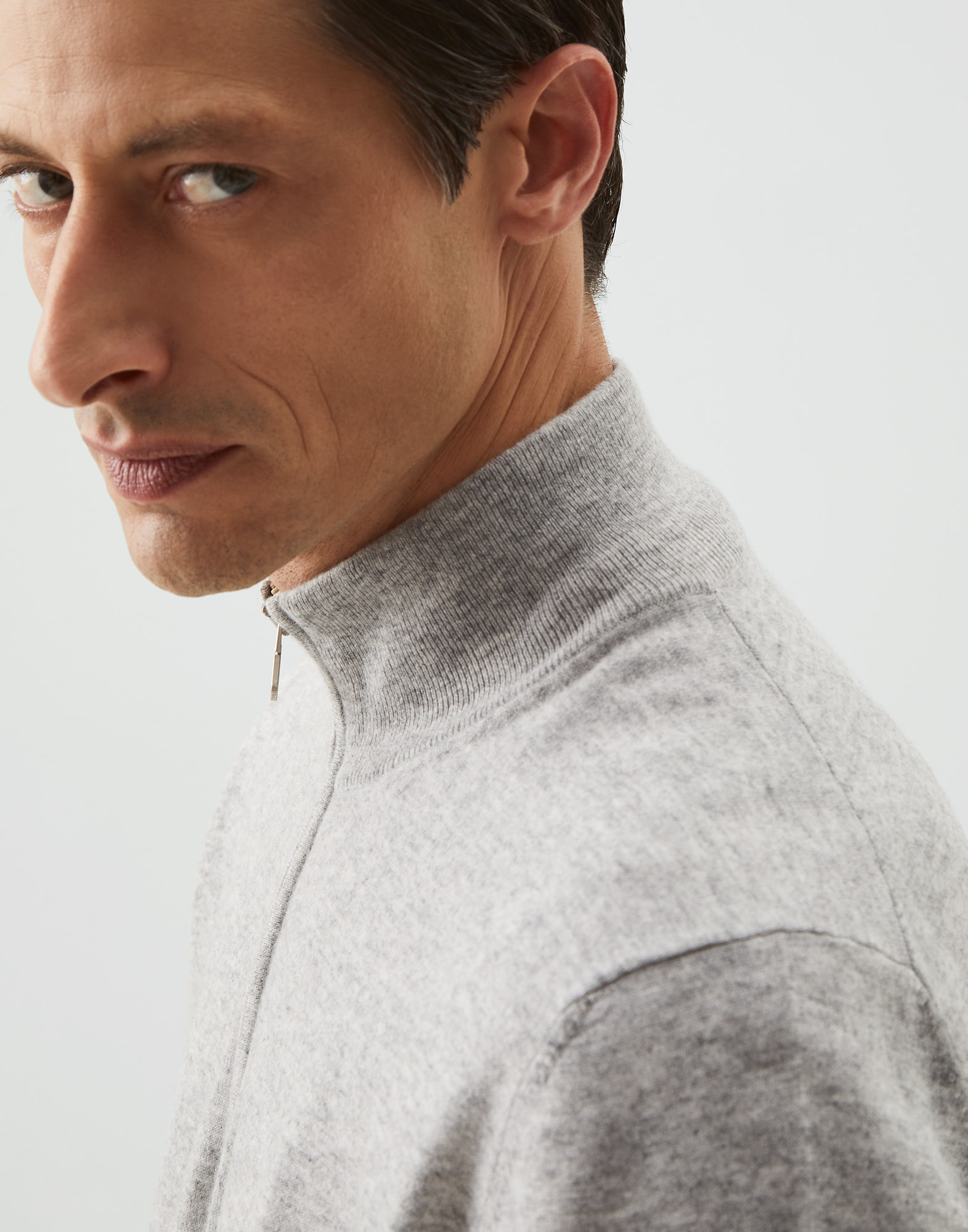 High Neck Sweater Pebble Man 3 - Brunello Cucinelli