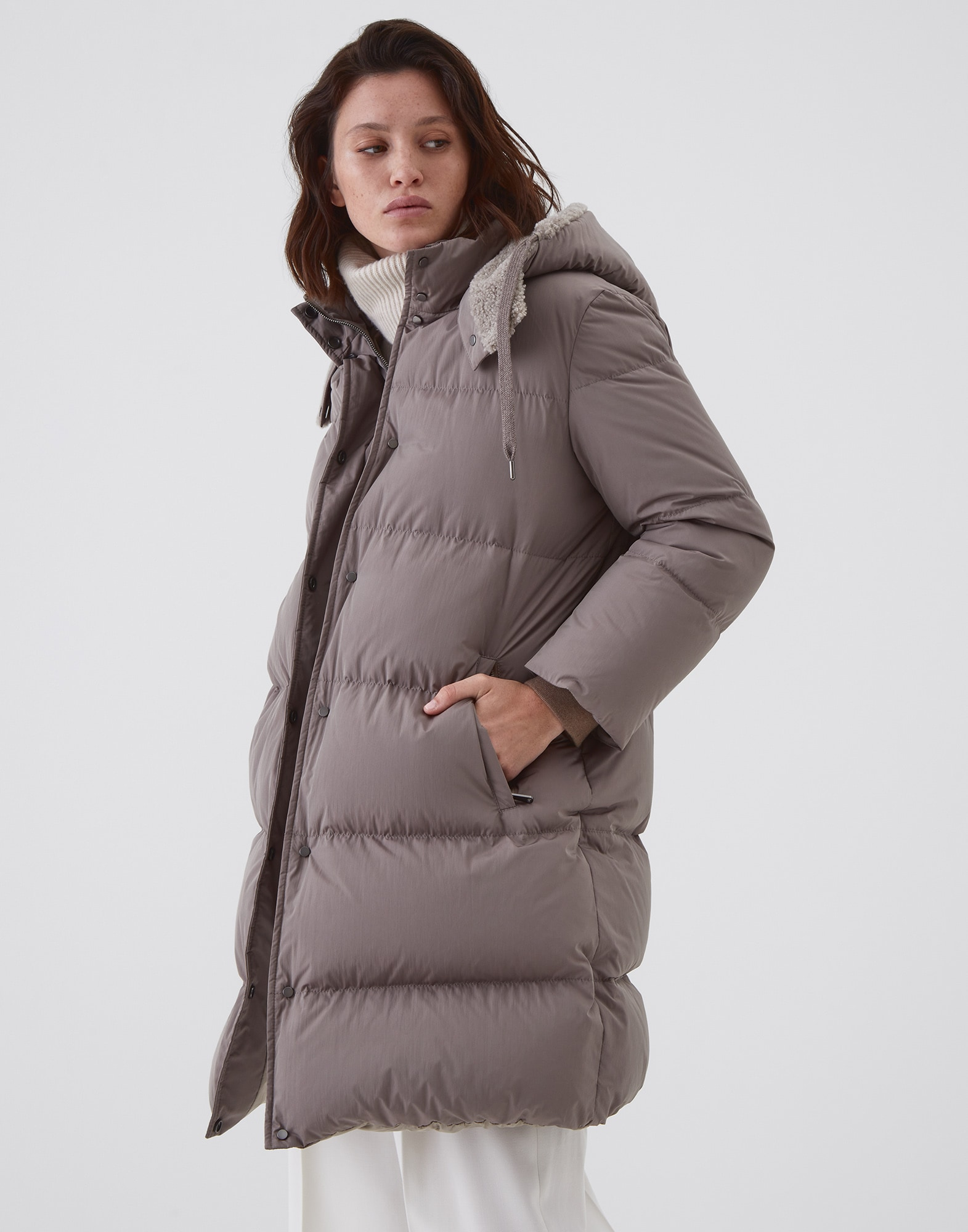 Down Jacket Mud Woman 0 - Brunello Cucinelli