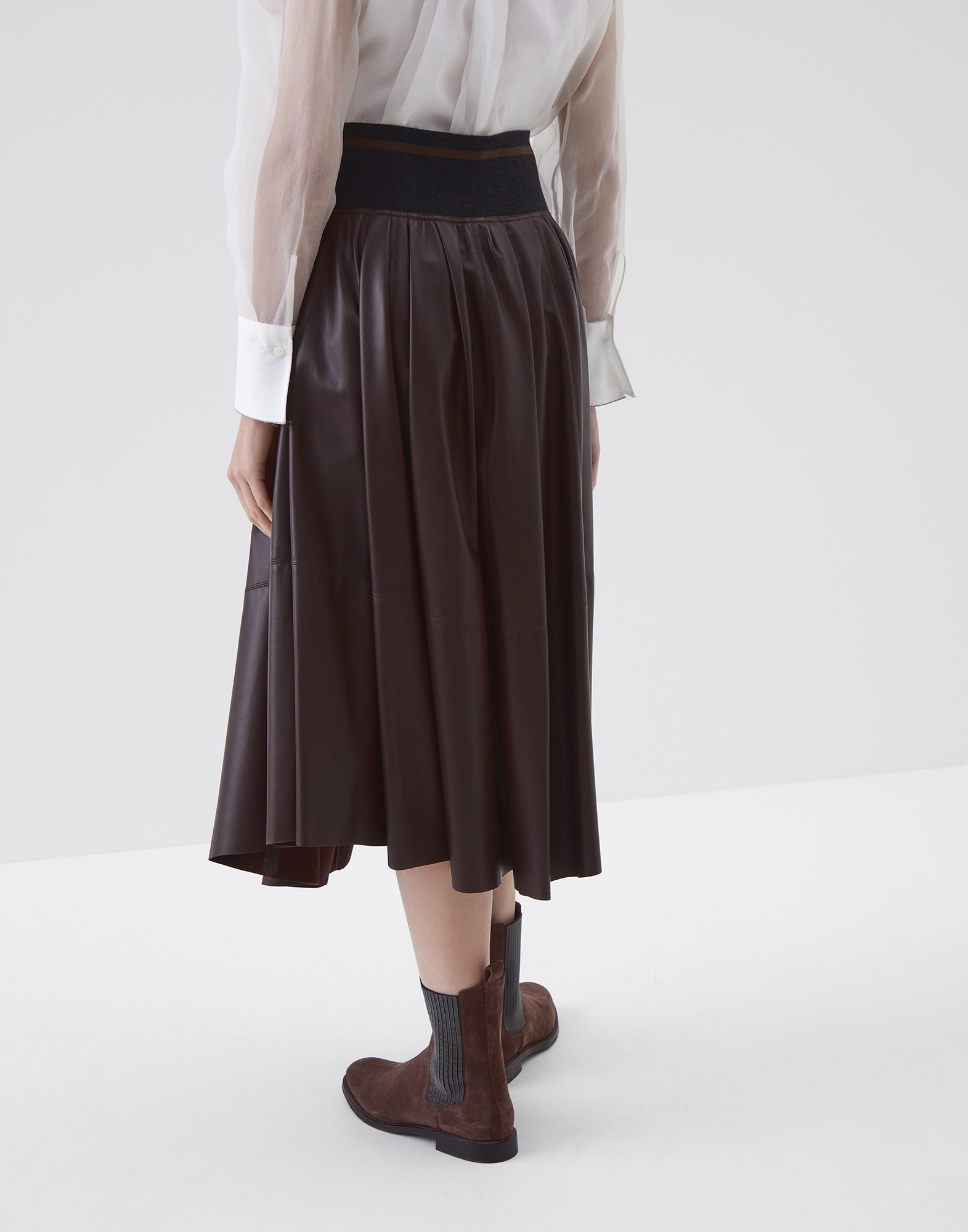 Midi Skirt Rust Brown Woman 1 - Brunello Cucinelli