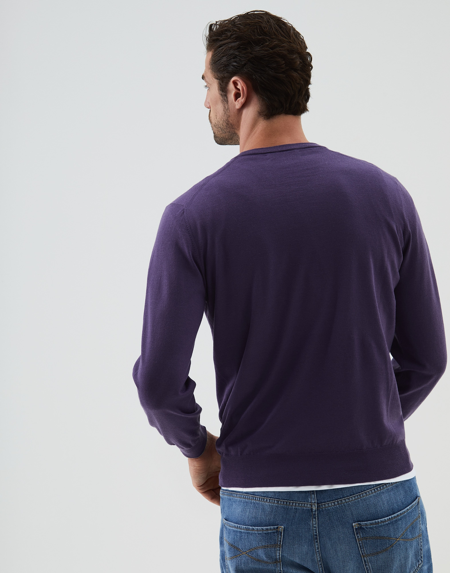 V-neck Sweater Aubergine Man 1 - Brunello Cucinelli