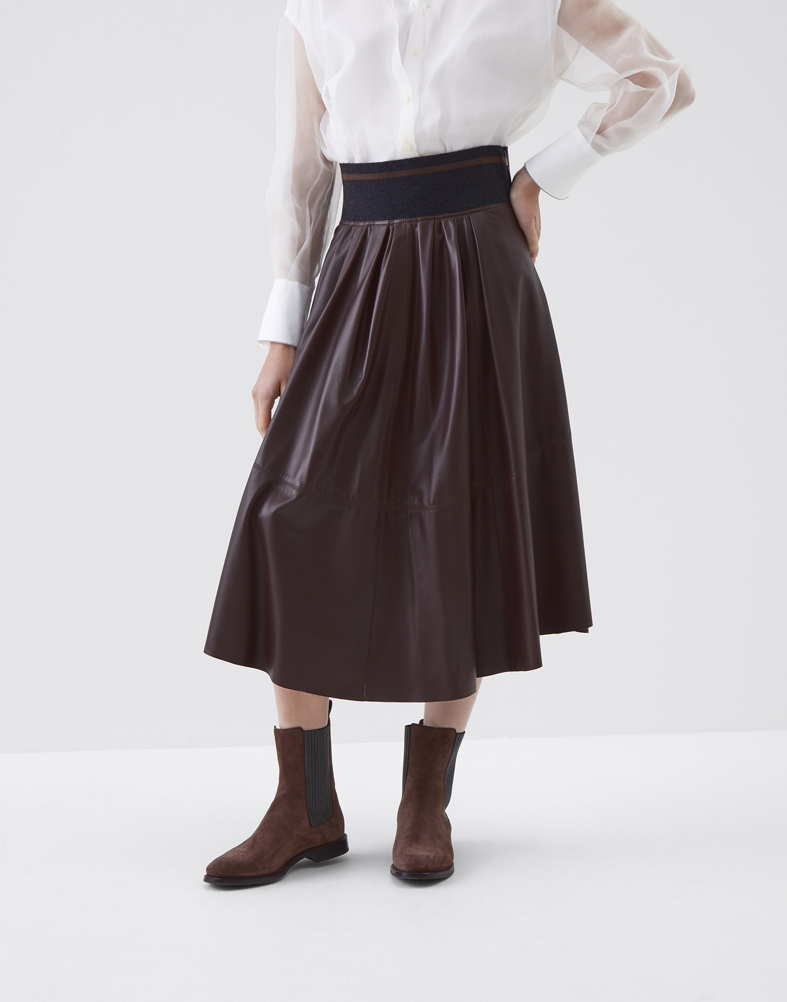 Midi Skirt Rust Brown Woman 0 - Brunello Cucinelli