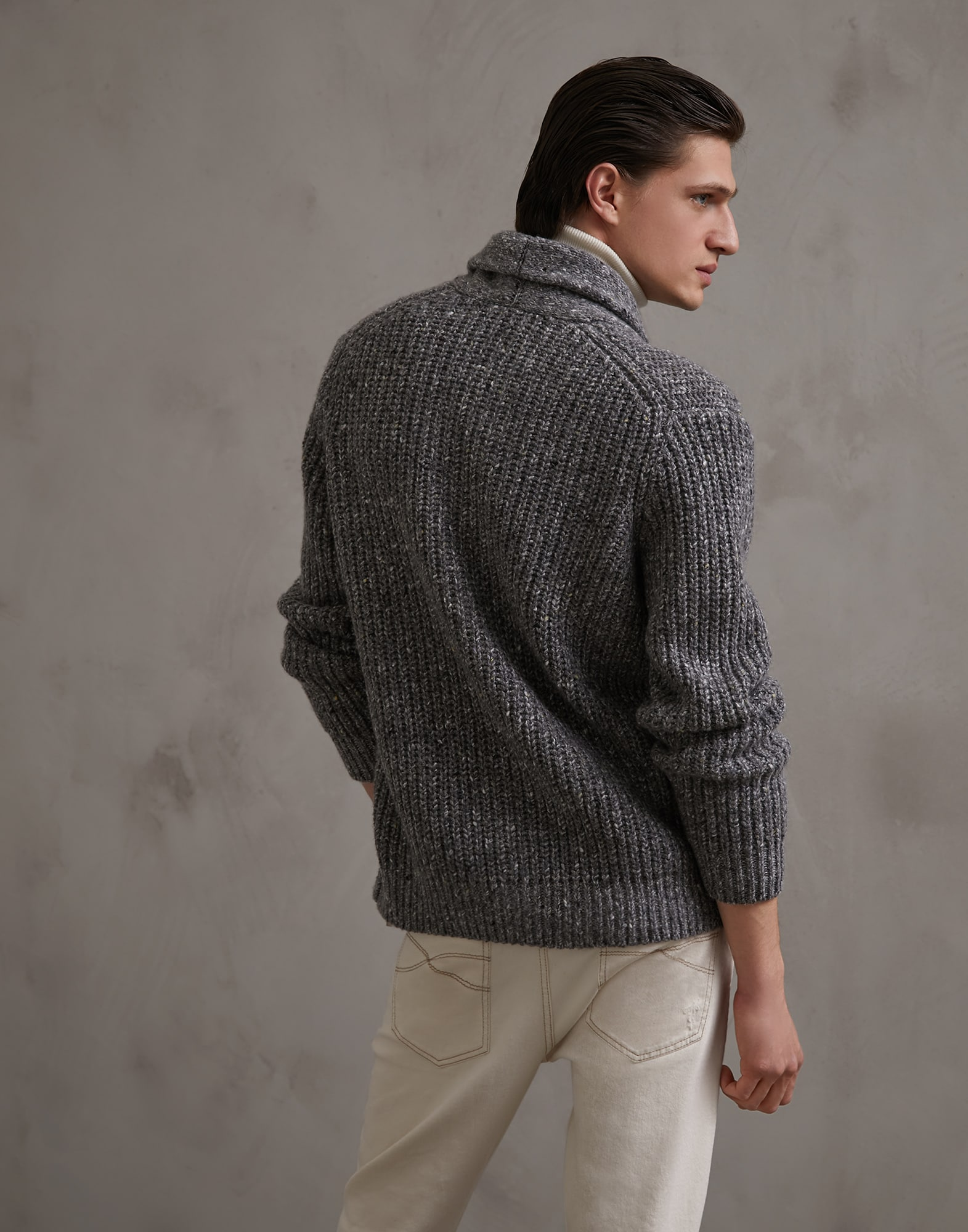 Button-front Cardigan Grey Man 1 - Brunello Cucinelli