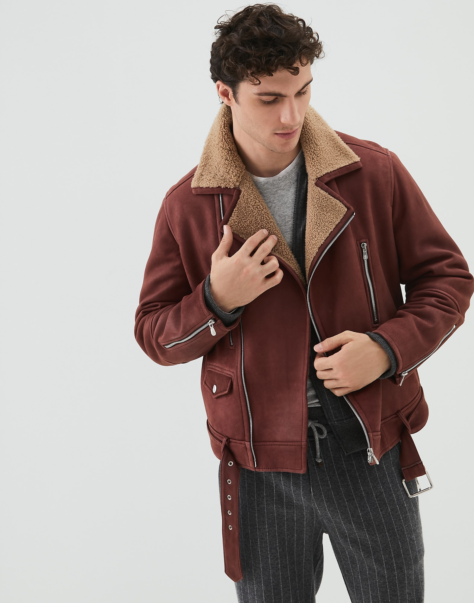Leather Amaranth Red Man 0 - Brunello Cucinelli