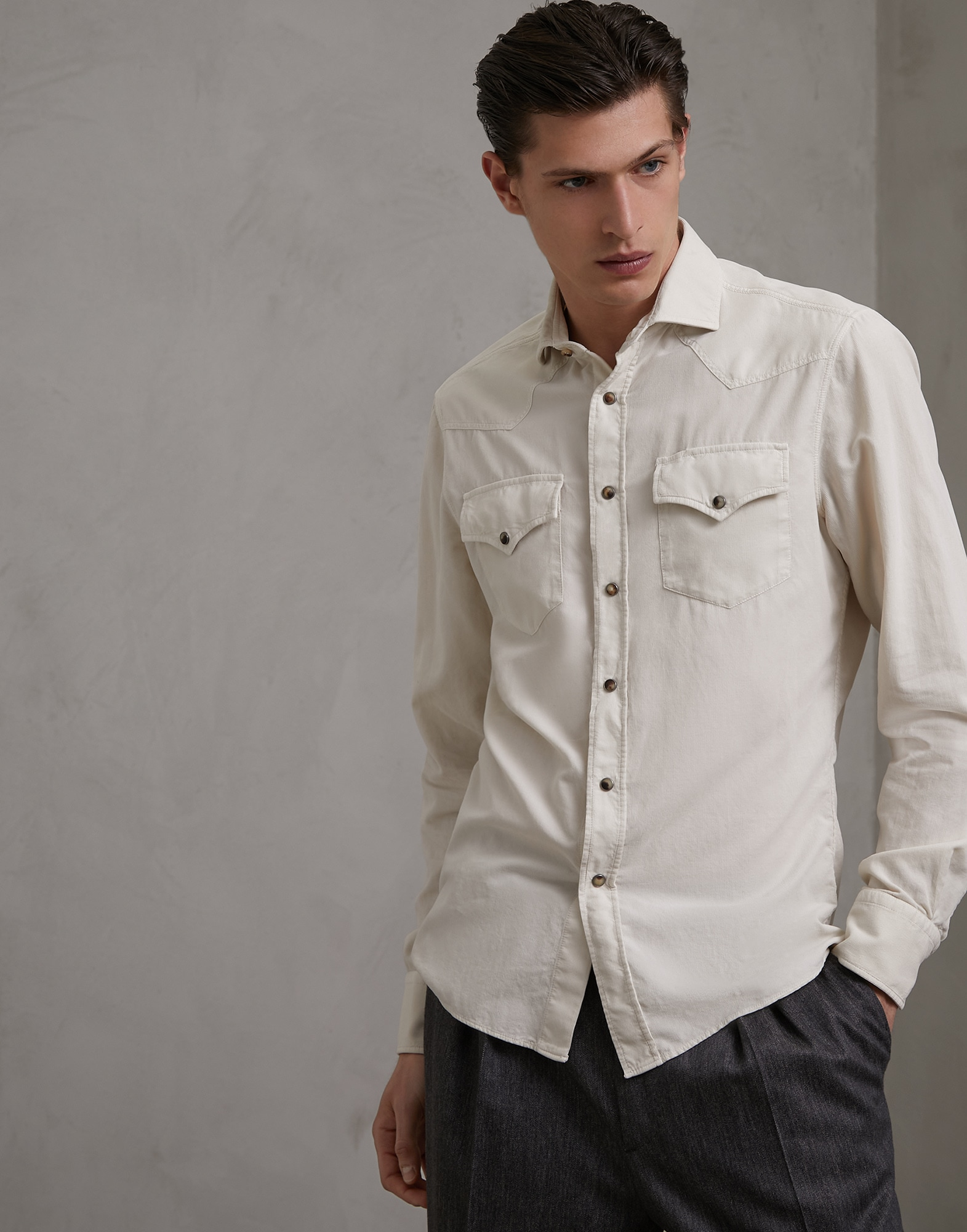 Casual Shirt Beige Man 1 - Brunello Cucinelli