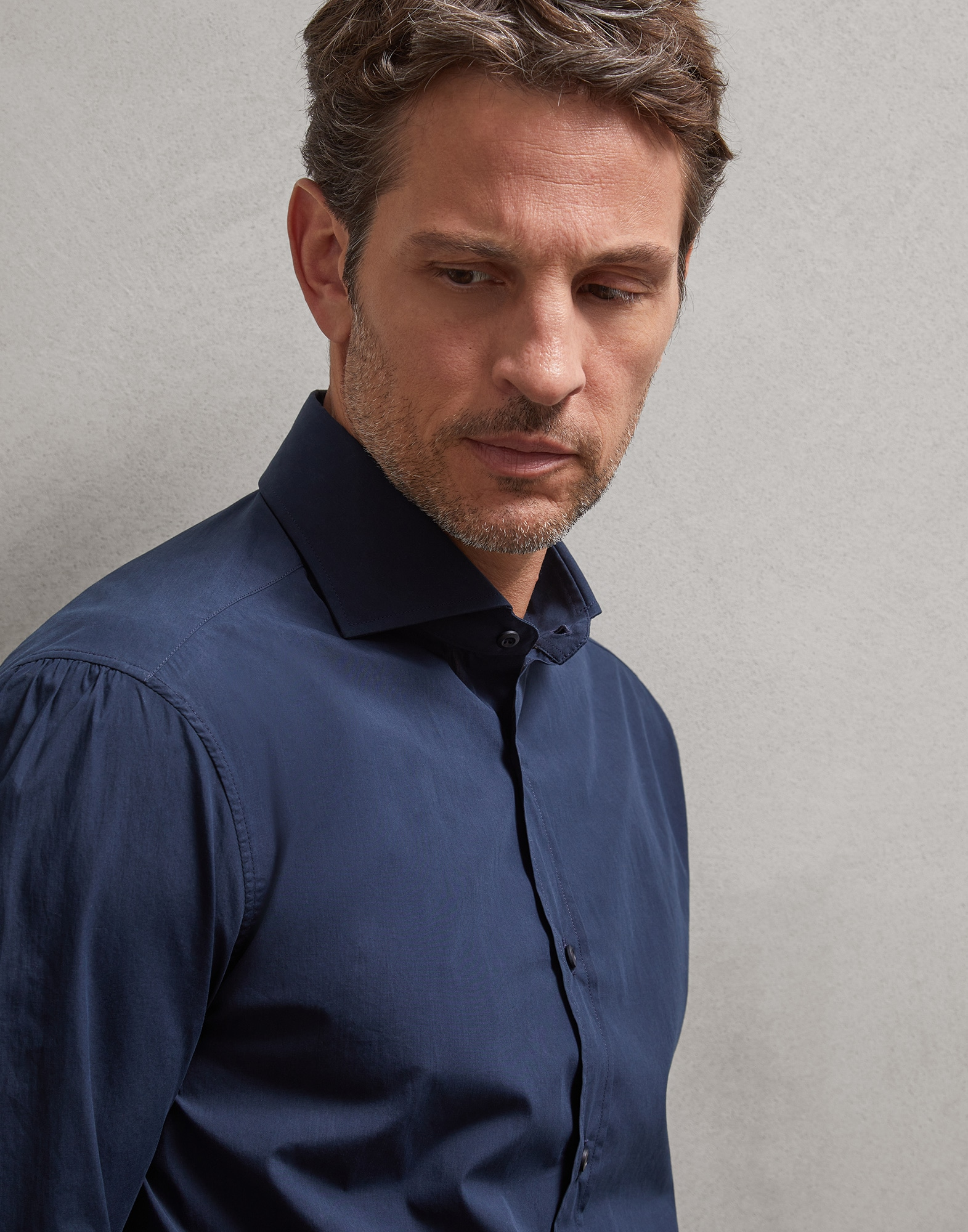 French Collar Shirt Navy Blue Man 0 - Brunello Cucinelli
