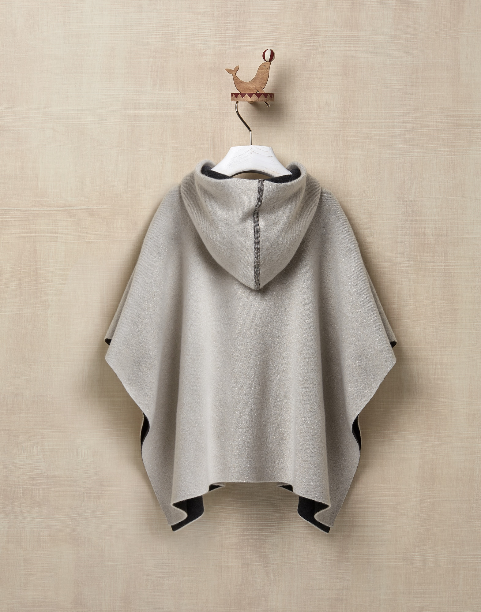 Poncho Cool Beige Girl 1 - Brunello Cucinelli