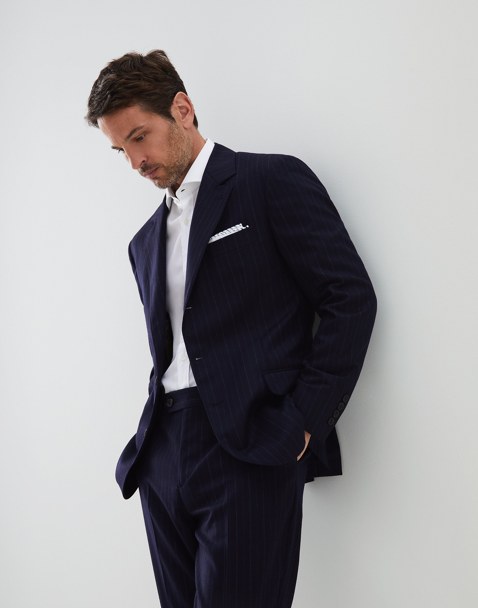 Single Breasted Blazer Marine Blue Man 0 - Brunello Cucinelli