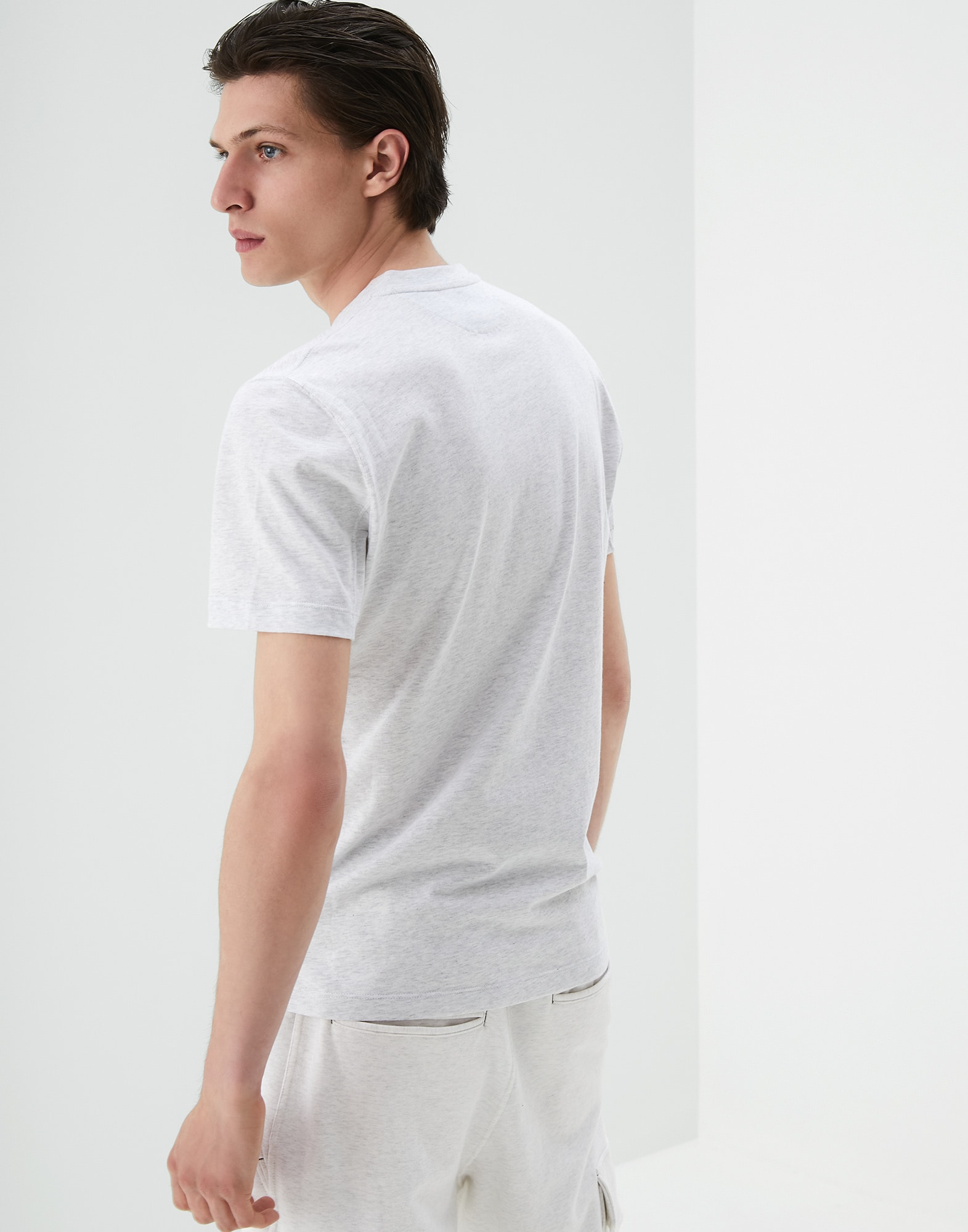 Short Sleeve T-Shirt Pearl Grey Man 2 - Brunello Cucinelli