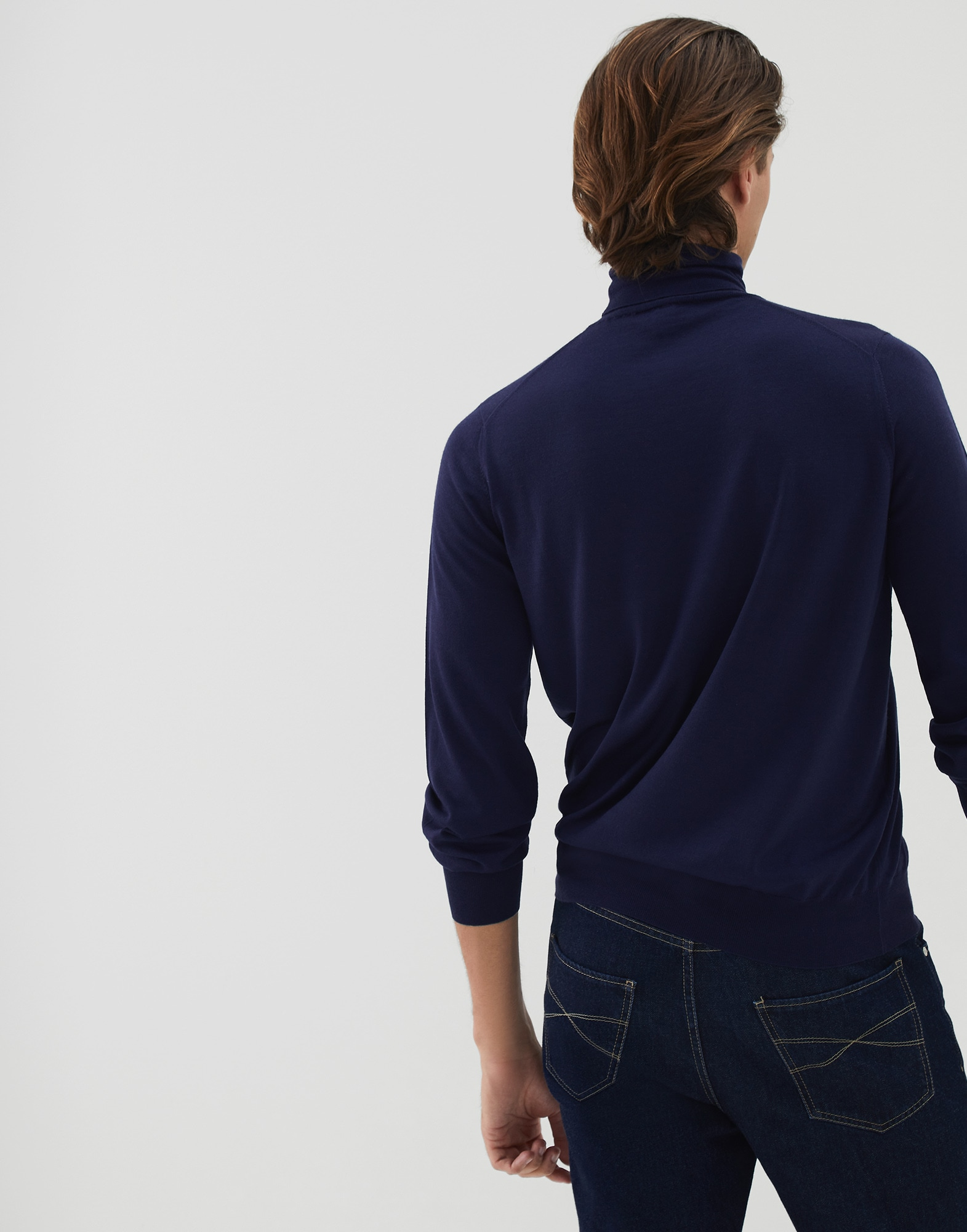 High Neck Sweater Blue Man 1 - Brunello Cucinelli