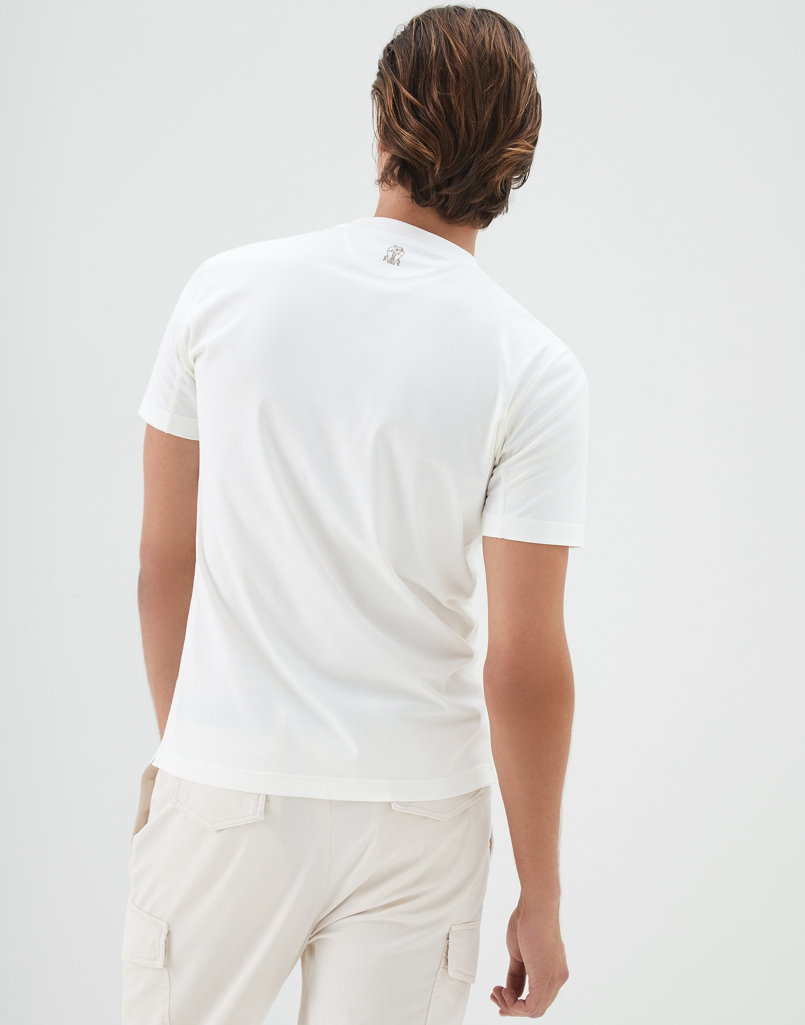 Short Sleeve T-Shirt Off-White Man 2 - Brunello Cucinelli
