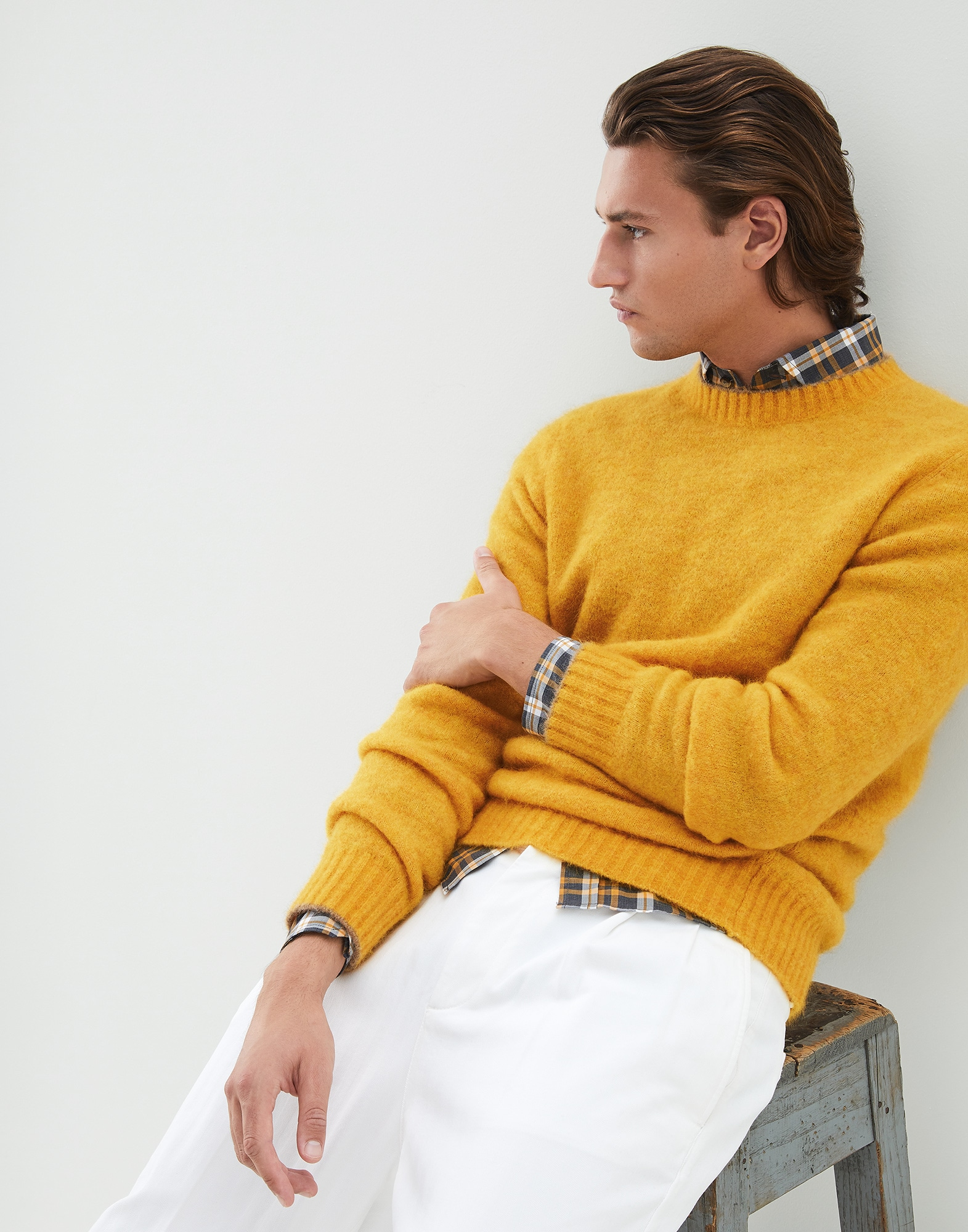 Crewneck Sweater Yellow Man 4 - Brunello Cucinelli
