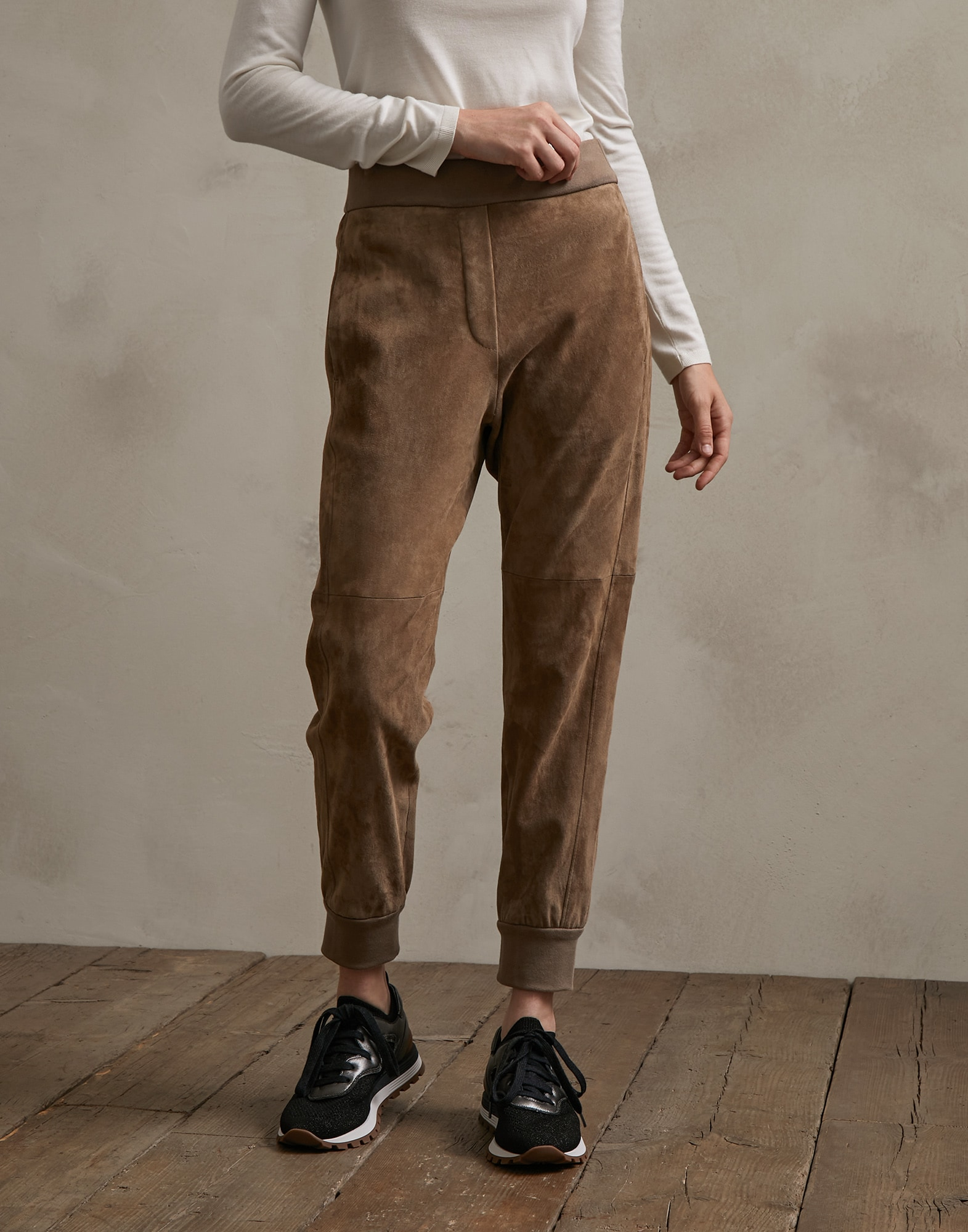 Leather Trousers Brown Woman 0 - Brunello Cucinelli