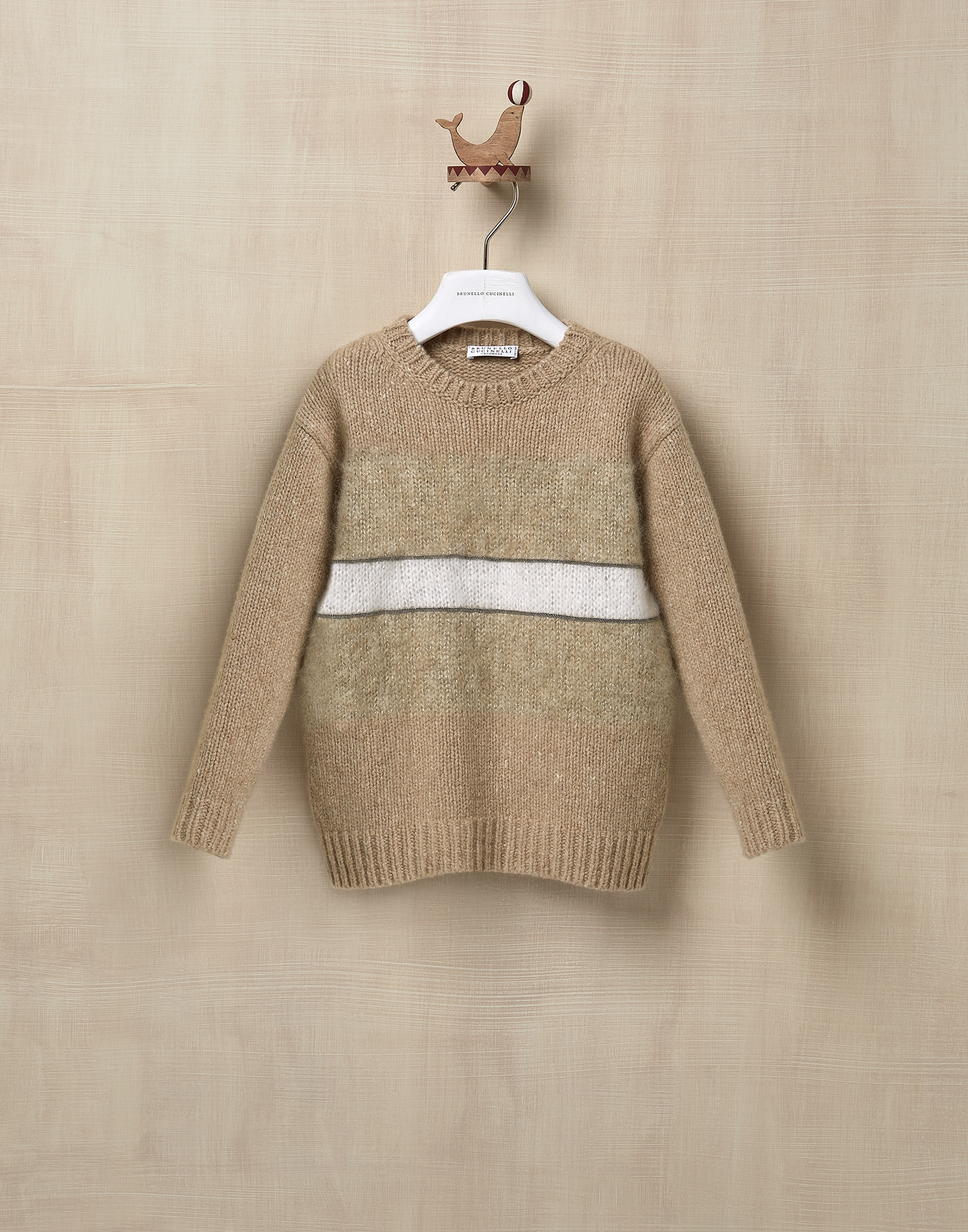 Crewneck Sweater Beige Girl 1 - Brunello Cucinelli