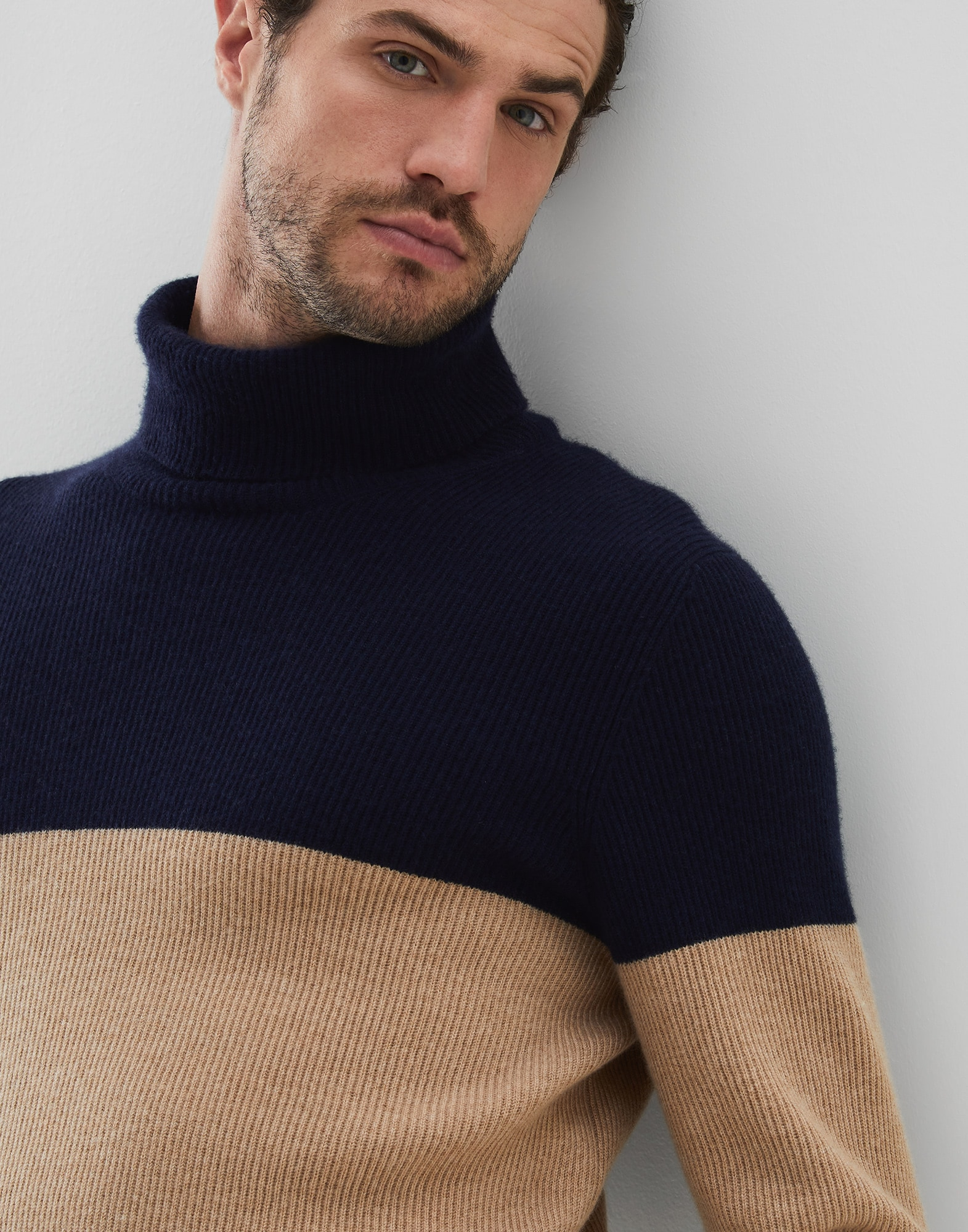 High Neck Sweater Navy Blue Man 2 - Brunello Cucinelli