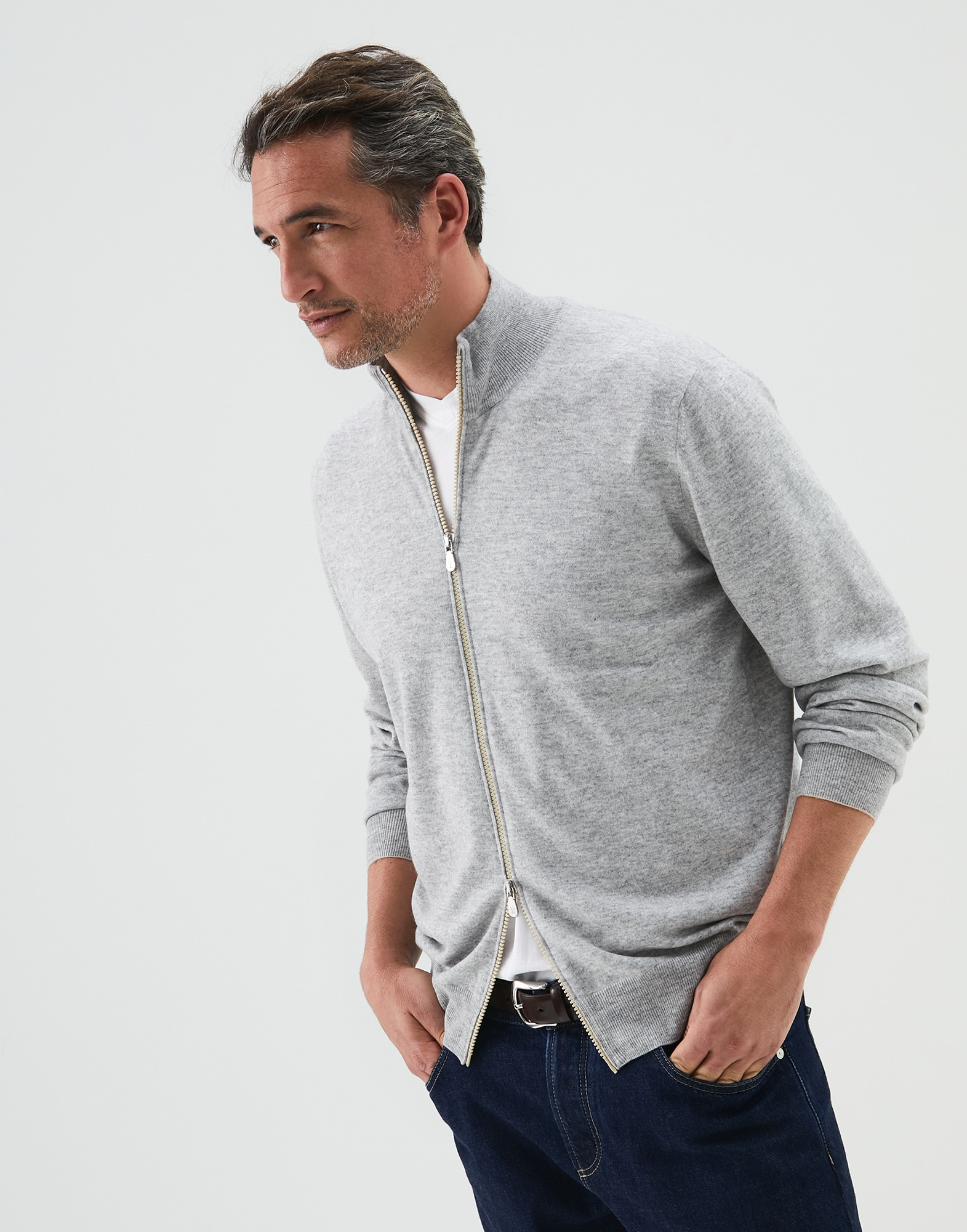 Zip-front Cardigan Pebble Man 1 - Brunello Cucinelli